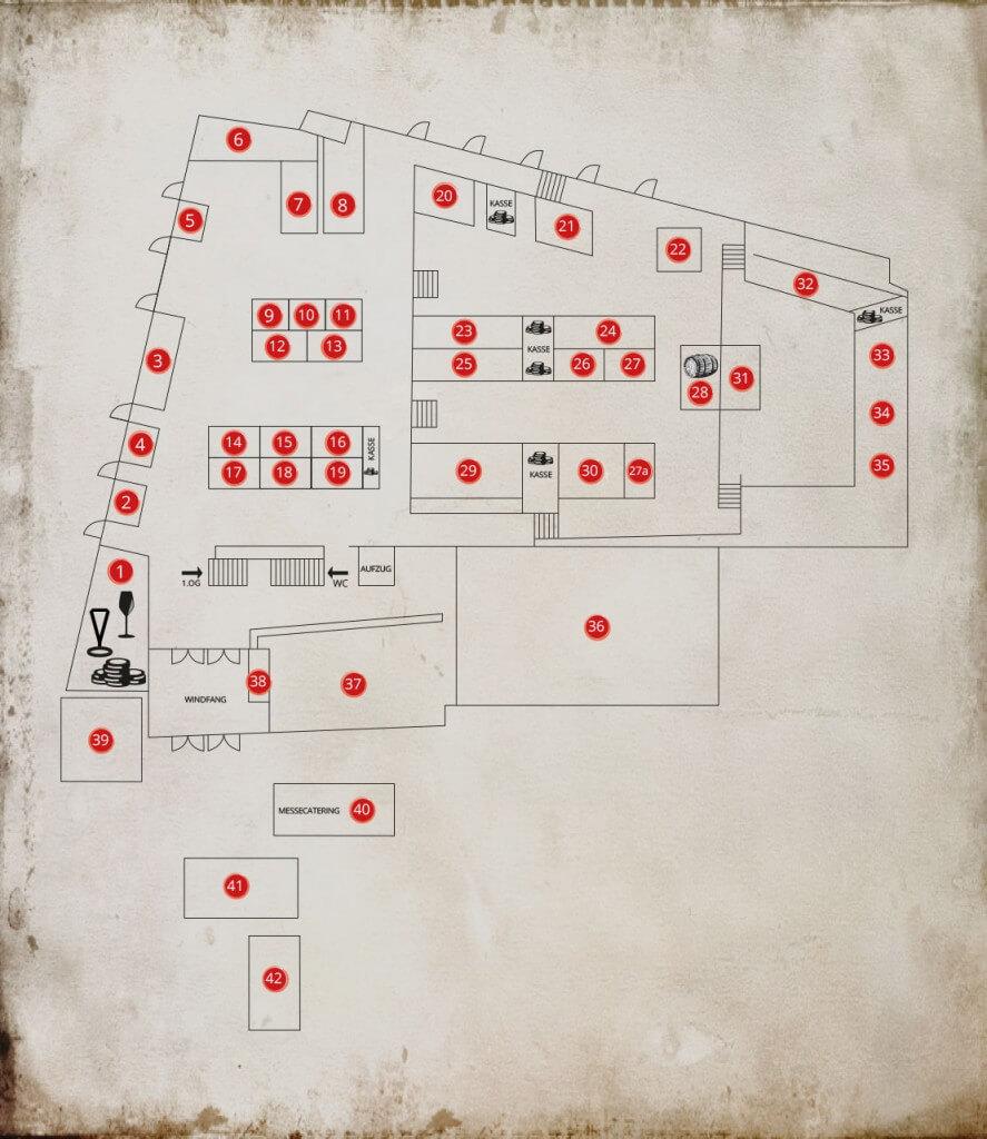 Hallenplan der Hall of Angels' Share